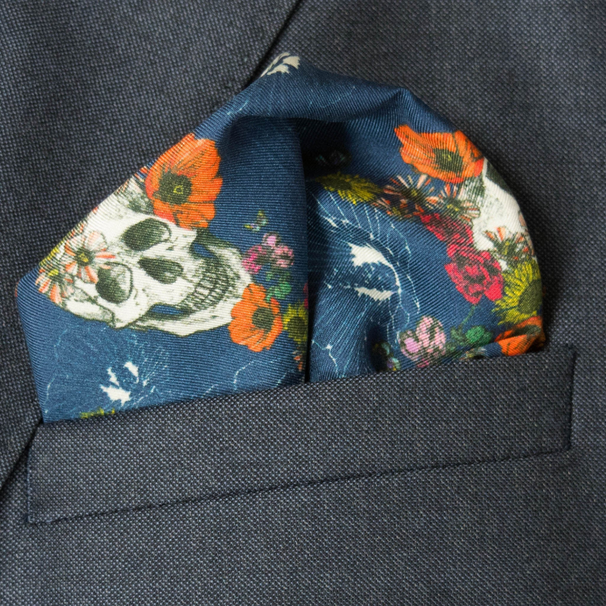 Calavera Azul Silk Pocket Square, , Bivain