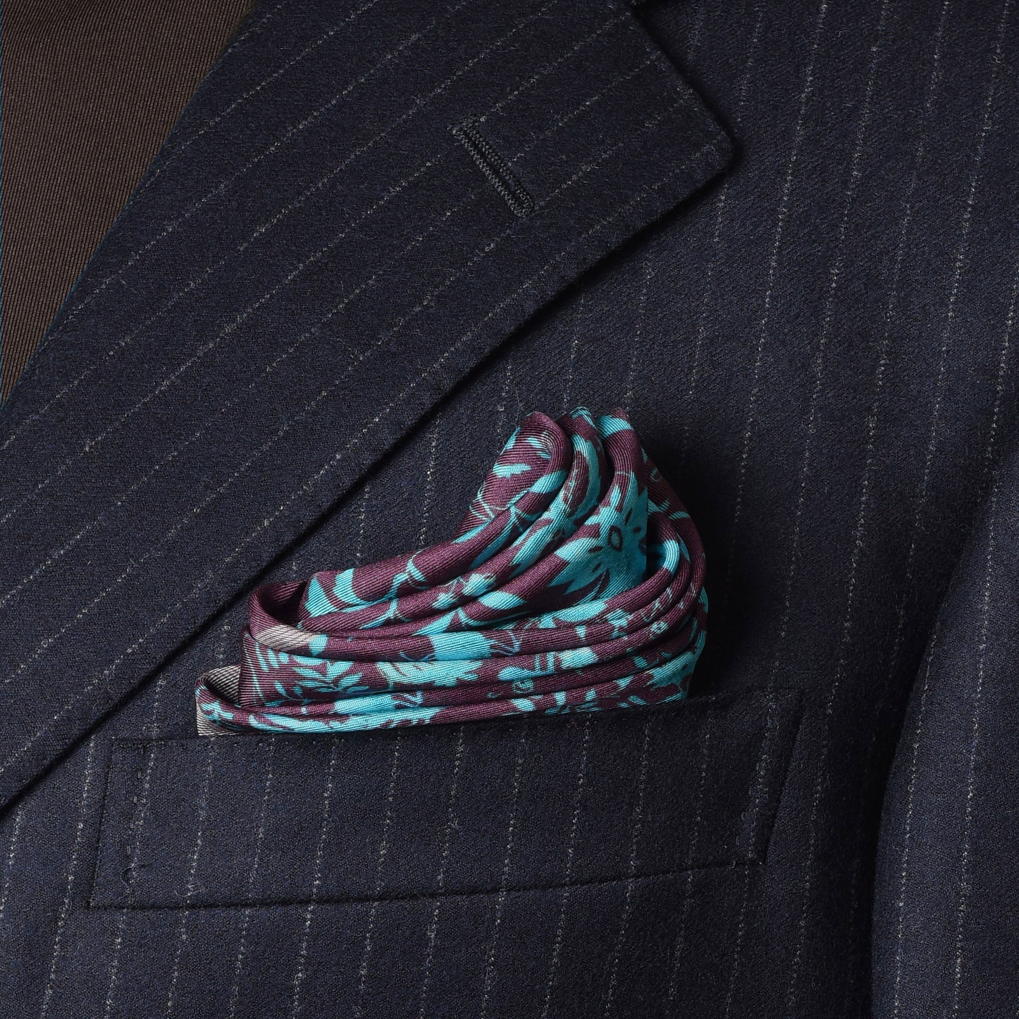Turquoise Chintz Pocket Square