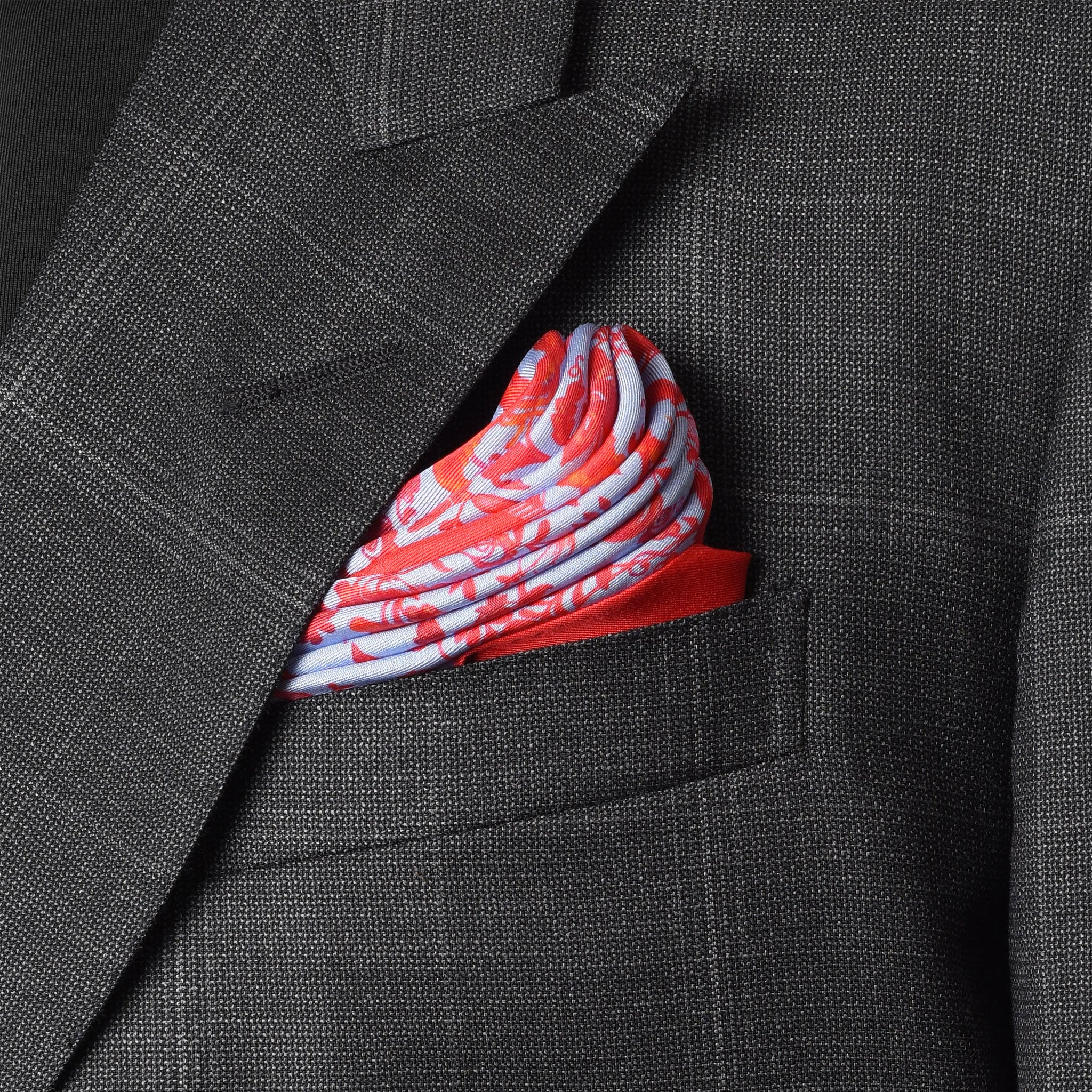 Scarlet Chintz Pocket Square