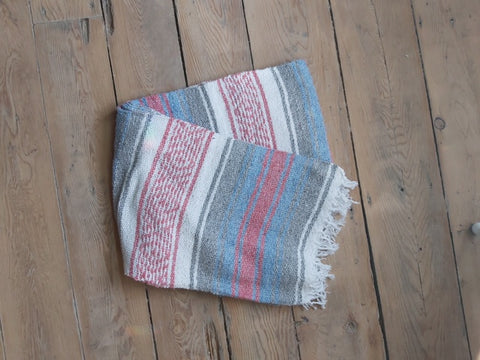 Pink, Grey and Light Blue  Blanket