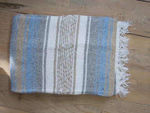Blue , Grey and Tan  Blanket