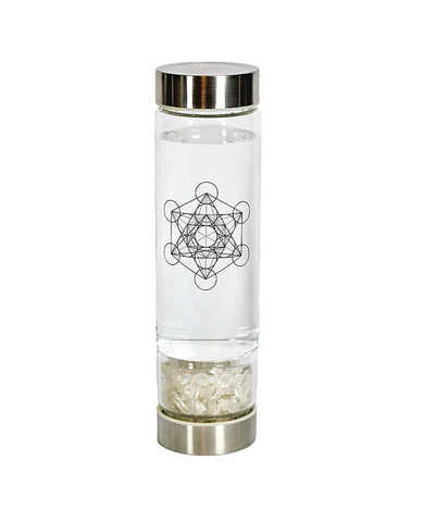 Crystal Infuser Glass Water Bottle- Clear Quartz