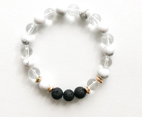 Clear Quartz + White Howlite
