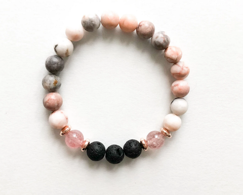 Pink Zebra Jasper & Strawberry  Quartz