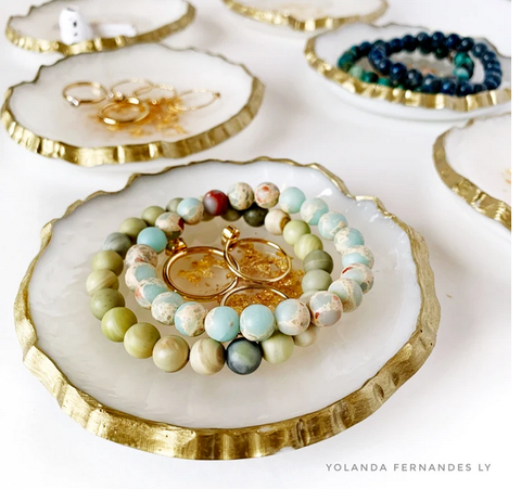 Ring Dish- white with gold