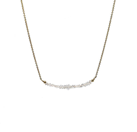 "Herkimer Quartz ""Diamond"" Bar Necklace-Daylyn"