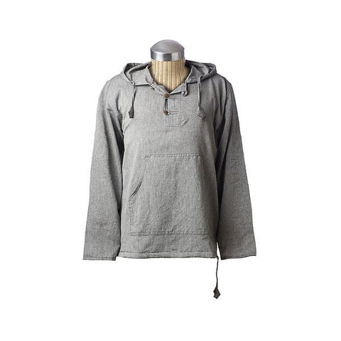 Solid Button Neck Long Sleeve Hoodie-Daylyn