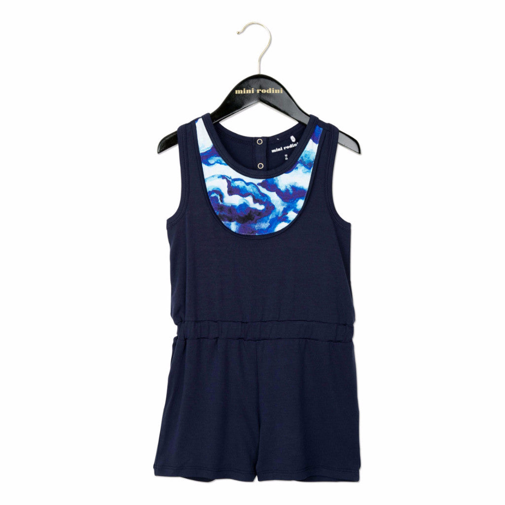 MINI RODINI Clouds AOP Bib Summersuit - Blue