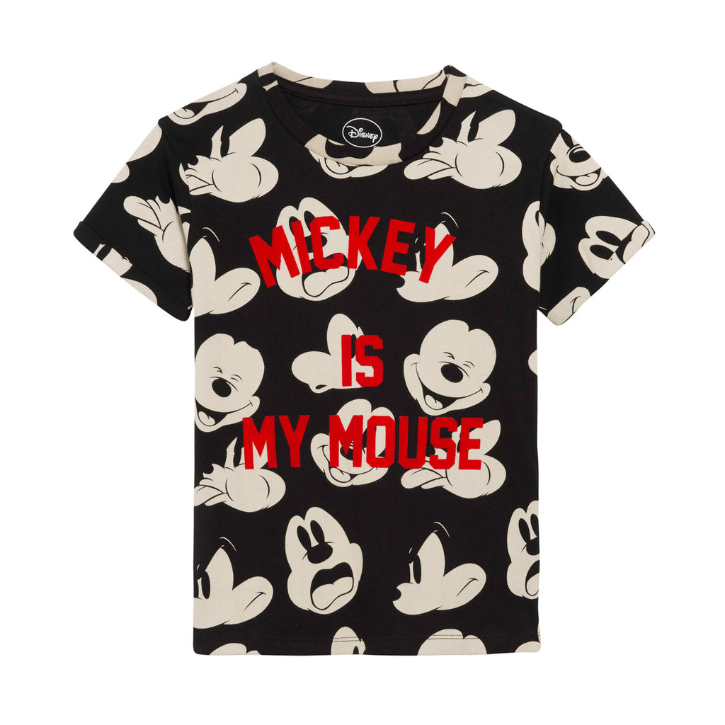 Little Eleven Paris - Mickey Black Short Sleeved T-Shirt