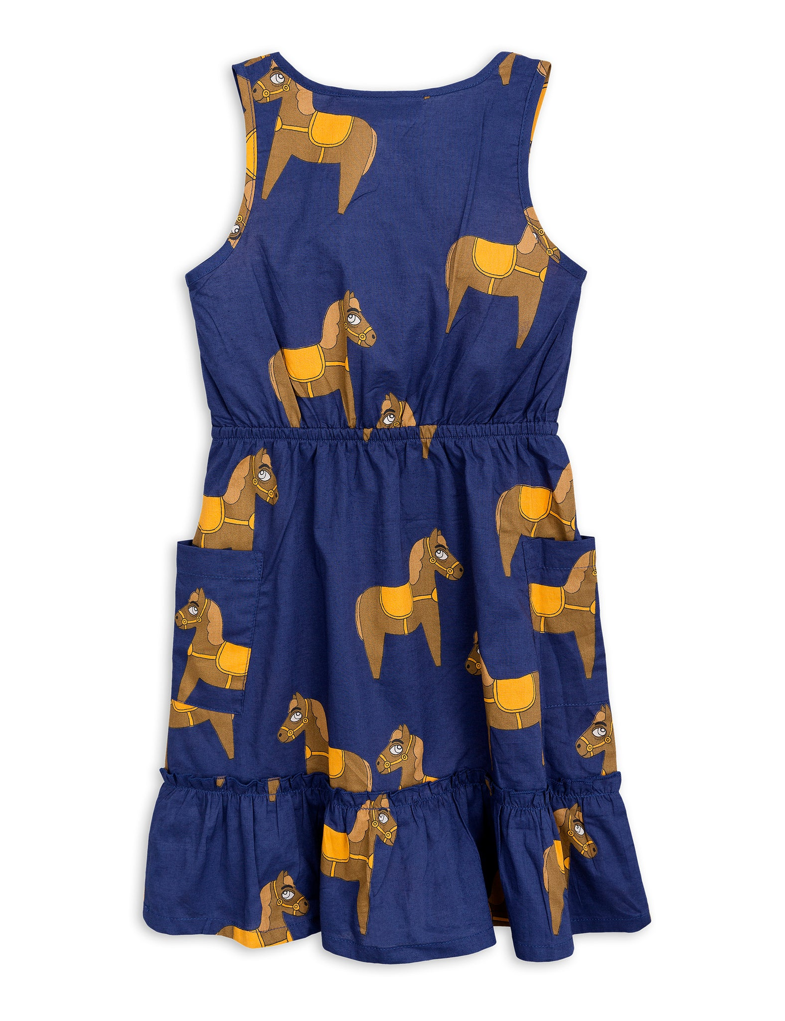 Mini Rodini Horse woven flounce dress