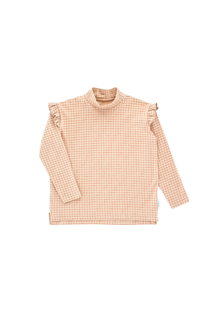 Tiny Cottons - grid mockneck tee