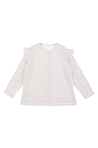 Tiny Cottons - grid shoulder frills blouse