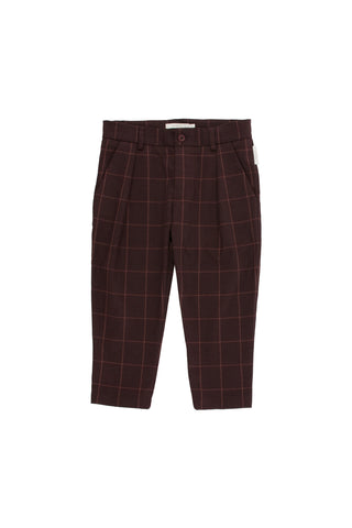Tiny Cottons - grid flannel pleated pant