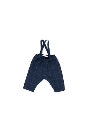 Tiny Cottons - grid flannel braces pant