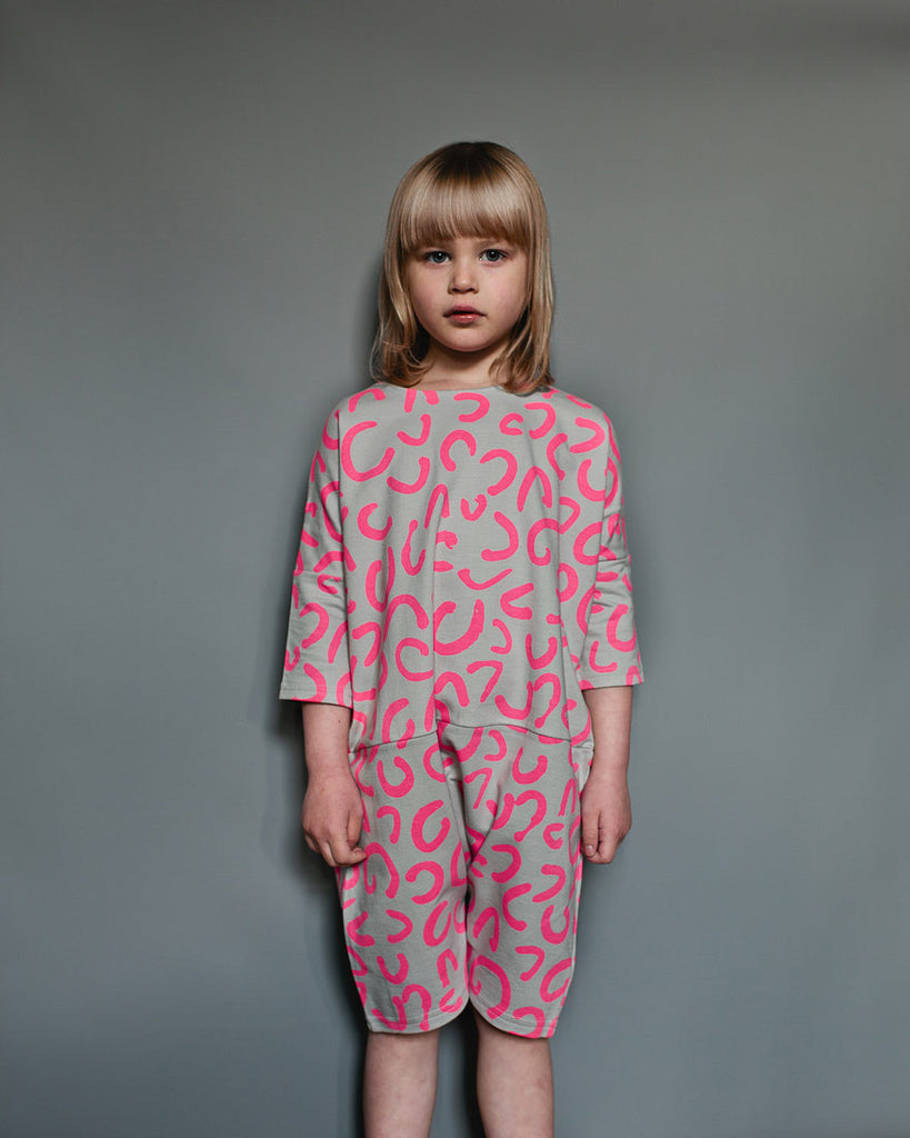 Beau Loves - Oversized Playsuit Dove Grey / Neon Pink
