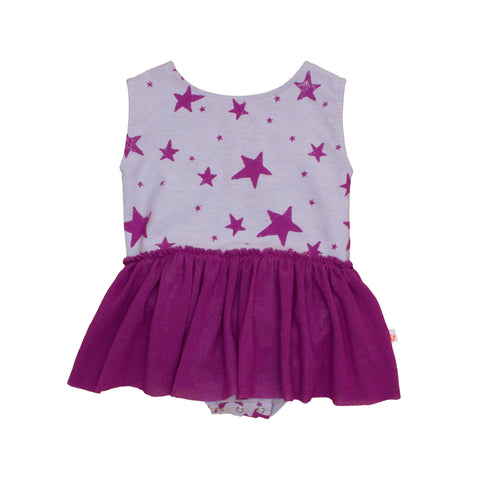 Noé & Zoë Baby Dress - Purple Stars