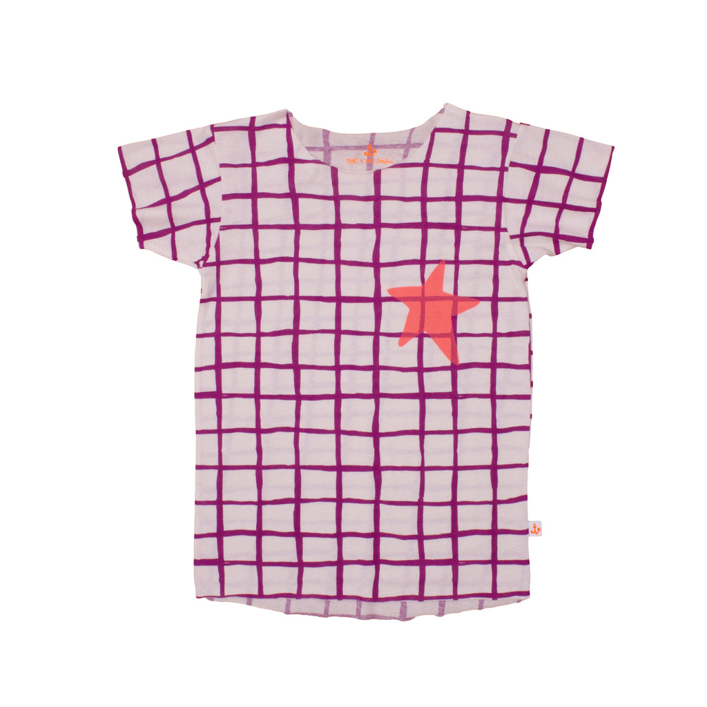 Noé & Zoë Square Boys Tee - Purple Grid