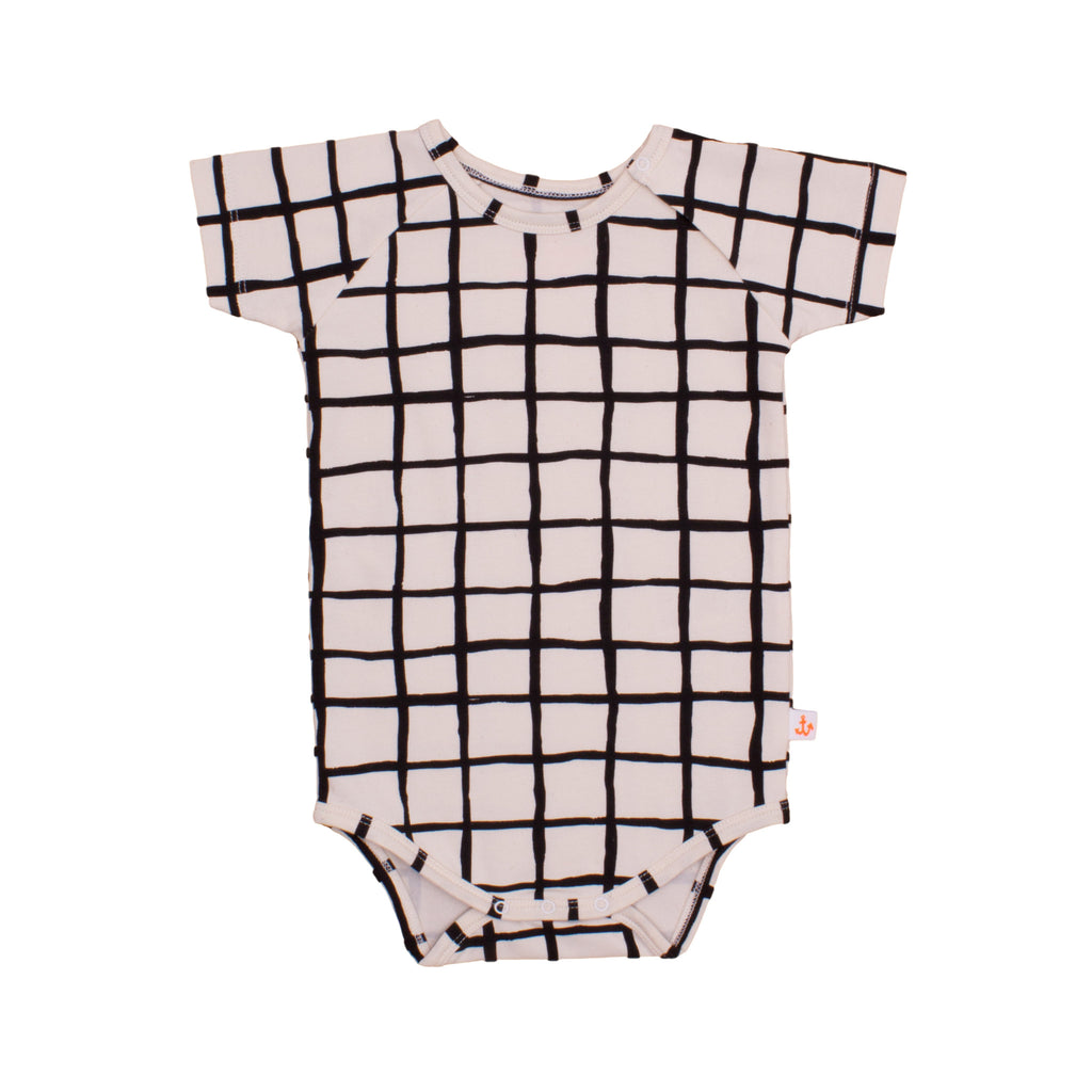 Noé & Zoë Baby Raglan Body - Black Grid