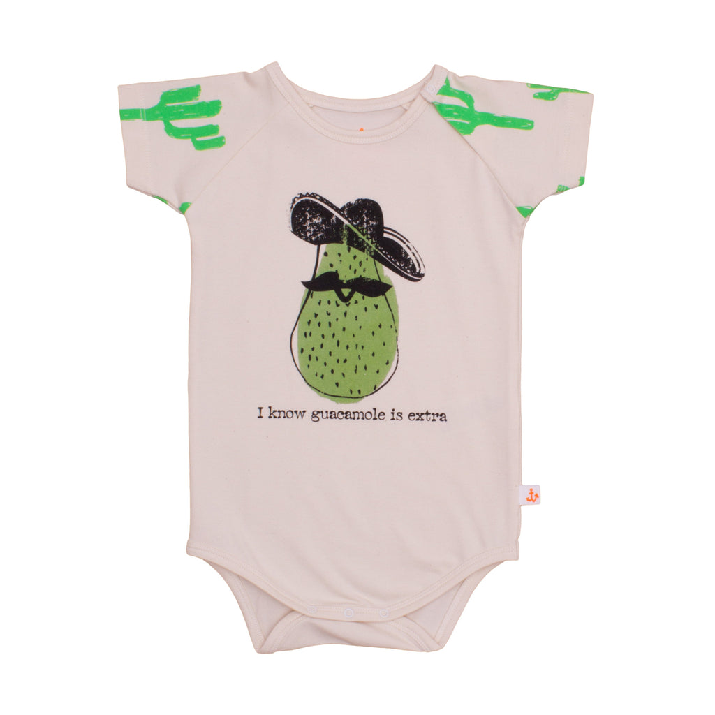 Noé & Zoë Baby Raglan Body - Neon Green Cactus with Avocado