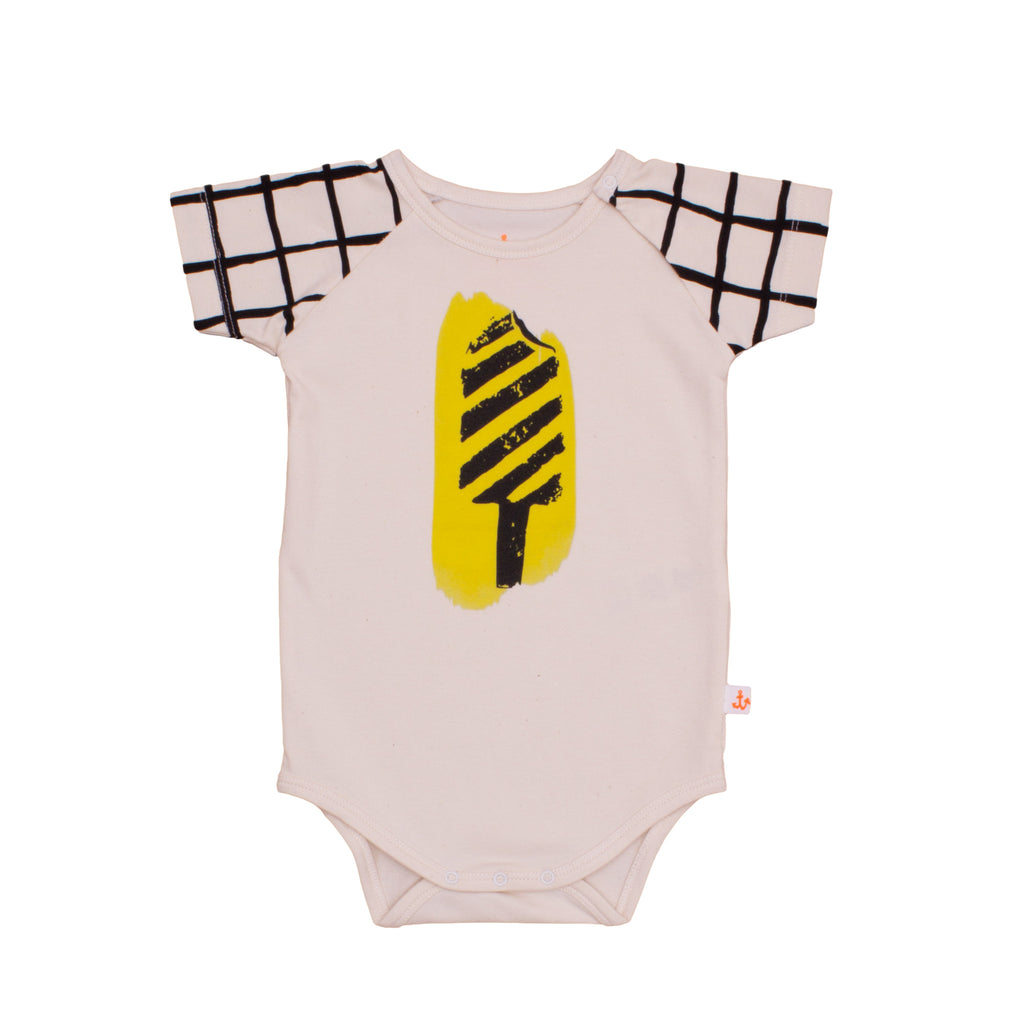 Noé & Zoë Baby Raglan Body - Black Grid Ice Lolly
