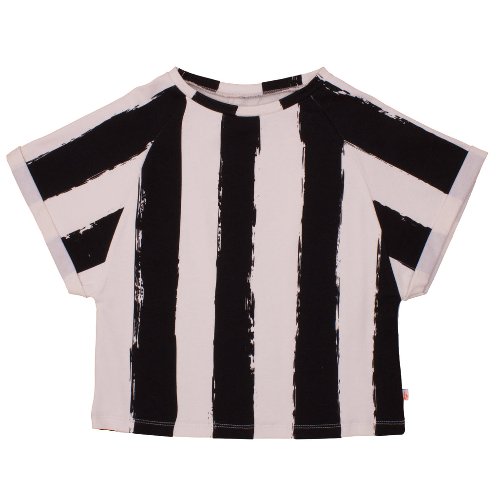 Noé & Zoë Square Tee - Black and White Stripes XL