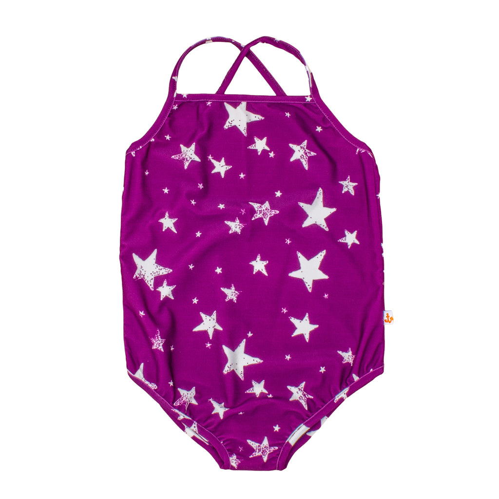Noé & Zoë Swimsuit - Purple Inverse Stars