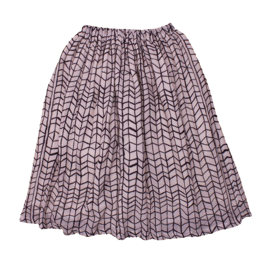 Noé & Zoë Long Skirt - Black Wave Grid