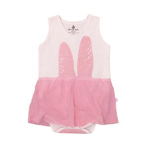 Noé & Zoë Baby Tank Bodysuit with Skirt - Rose Bunny