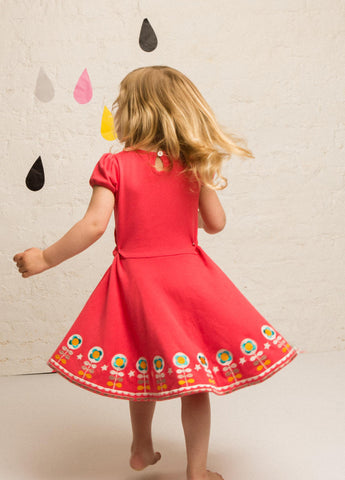 Little Green Radicals - Rose Pink Embroidered Flower Dress