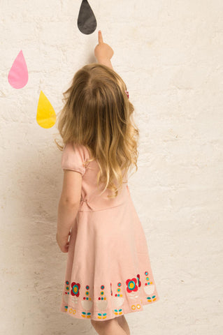 Little Green Radicals - Pale Pink Embroidered Flower Dress