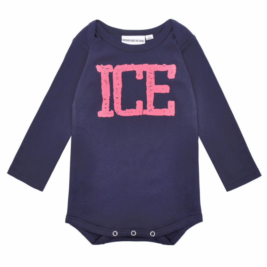 GARDNER AND THE GANG LONG SLEEVED ROMPER ICE - NAVY BLUE