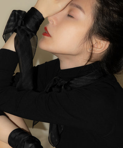 "< Limited Edition > Silk Chiffon Scarf ""Black Signals"" Made in Japan"