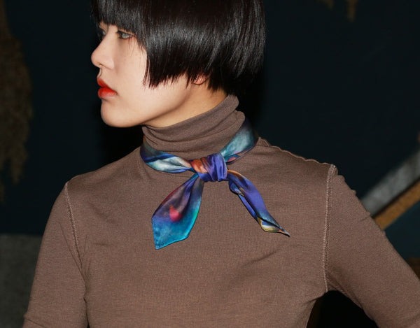 Blue printed fashion cotton scarf from a friend of mine online taipei paris tokyo