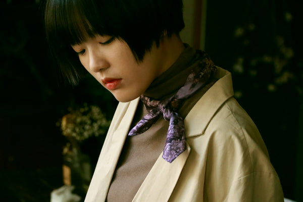 buy violet cotton satin scarf online paris taipei tokyo from a friend of mine 時尚 方巾穿搭 質感推薦