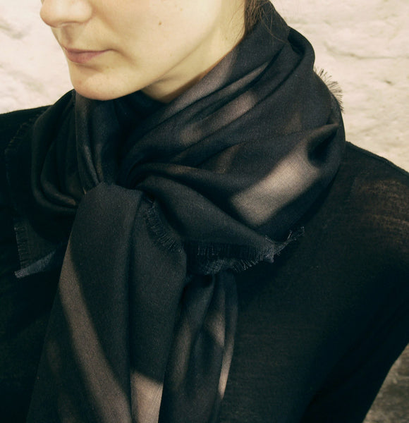 Buy beautiful black silk/wool scarf styles for women as luxury accessories online & in Paris!