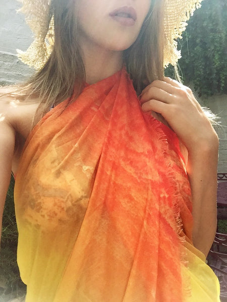 buy orange silk modal scarf online paris taipei tokyo from a friend of mine