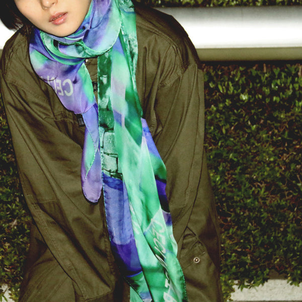 buy luxury fashion big purple green scarf online paris taipei tokyo isetan satori mizushima vetements vogue harrods takashimaya