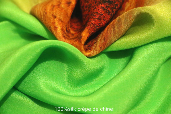 "< Limited Edition >  Silk crêpe de chine scarf ""Labyrinth1"""