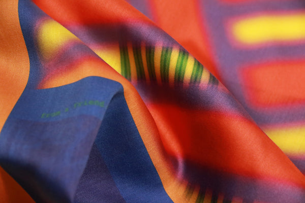 printed rainbow cotton satin scarf from a friend of mine online paris taipei tokyo
