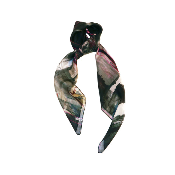 black silk scarf style from a friend of mine online made in japan