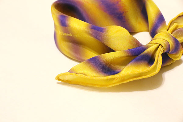 Stylish cool yellow silk scarf with purple stripes for isetan, colette, dover street market & selfridges!