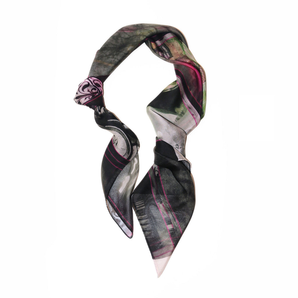 Luxury black silk chiffon scarf from a friend of mine online paris taipei tokyo 禮物推薦 精品絲巾 スカーフ 通販 女性 プレゼント