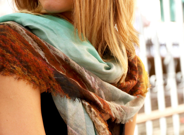 Luxury Fashioin Scarf from a friend of mine available in Osaka & Tokyo Takashimaya. パリ、台北、大阪、東京高島屋の高級ファッションスカーフ!