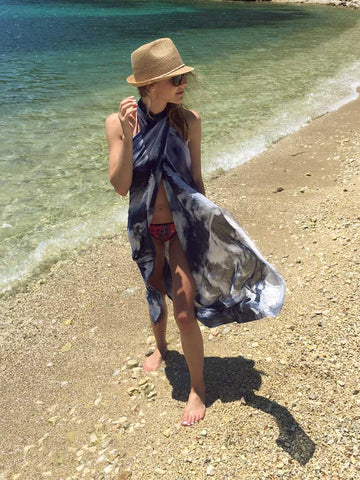 buy beautiful stylish sexy blue sarong Scarf from a friend of mine for beach vacation for her paris taipei tokyo sydney vogue elle harrods