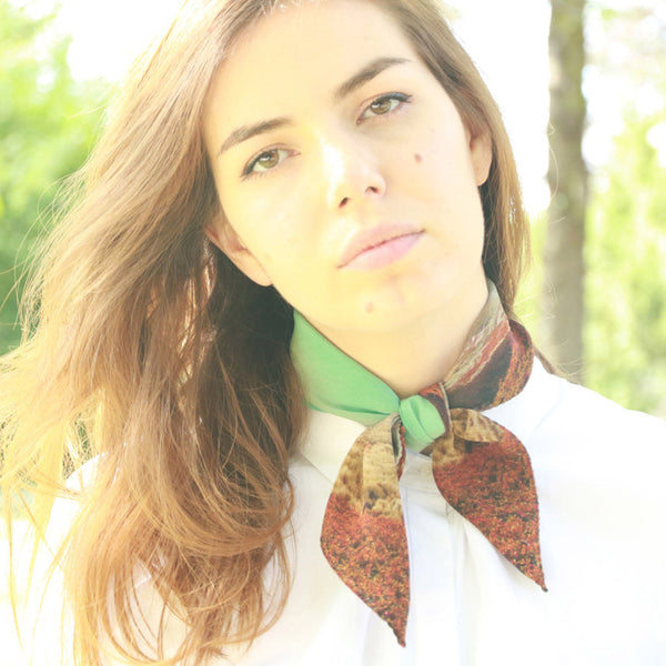 Buy Luxury Silk Neck Scarf styles for women & Shop bandanas online or in Paris & Tokyo