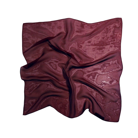 < Limited Edition > Silk Chiffon Scarf in bordeaux / 53 x 53cm / Made in Japan