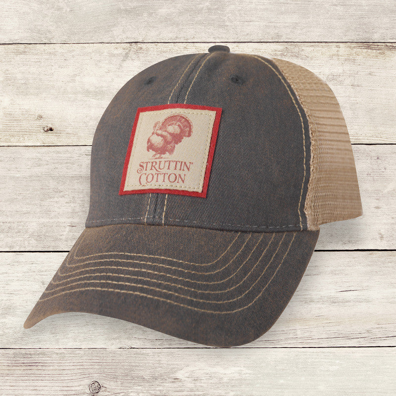 Distressed Navy Trucker Hat With Printed Patch Red Logo - Struttin Cotton fa9d81a6b95