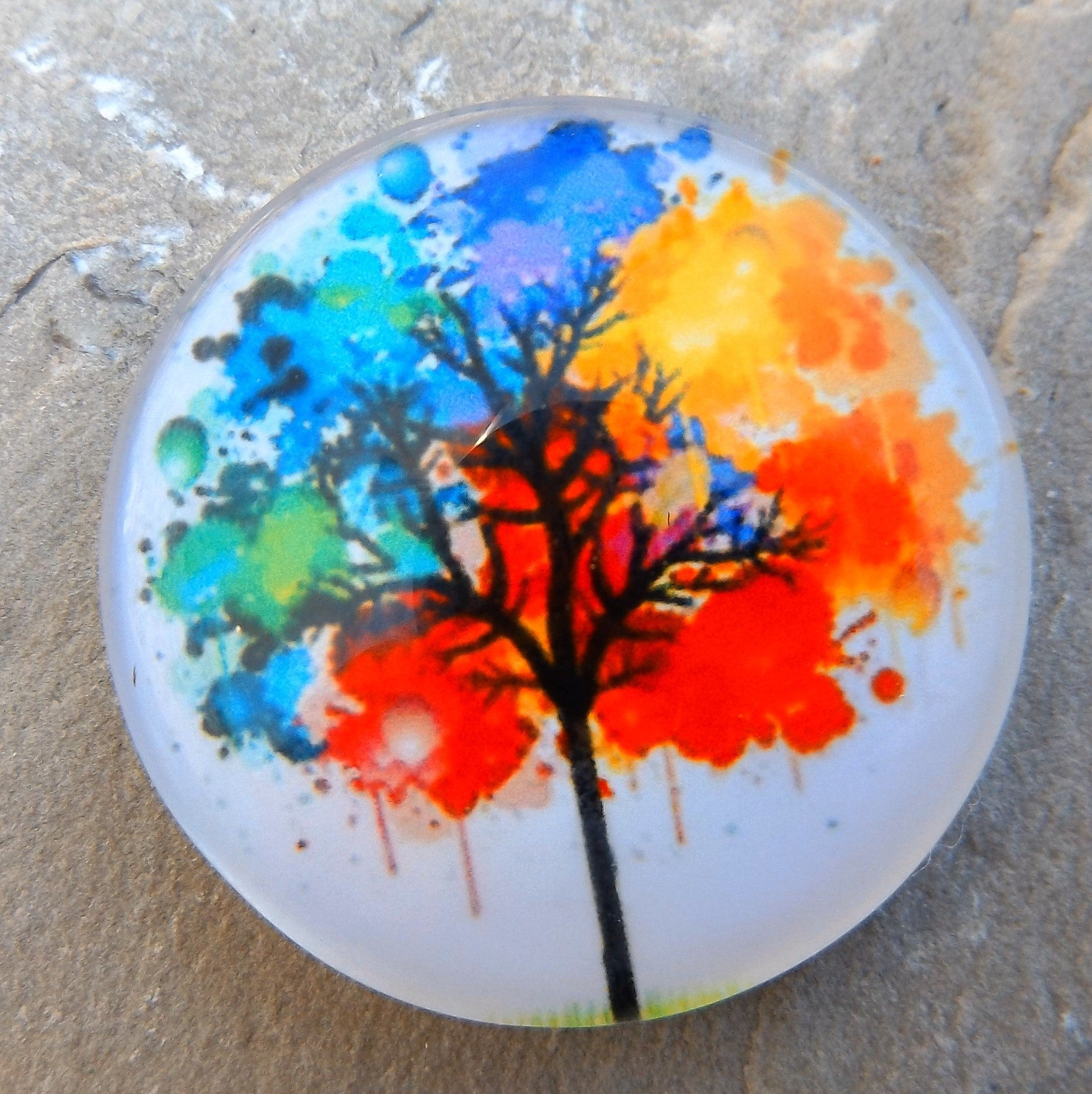 lot of 10 cabochons 25 mm tree of life