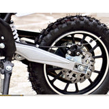 Orange and Black Electric dirt bike back tire