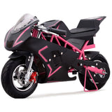 pink electric pocket bike left side view